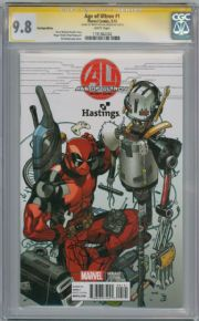Age Of Ultron #1 Hastings Deadpool Variant CGC 9.8 Signature Series Signed Brian Michael Bendis Marvel comic